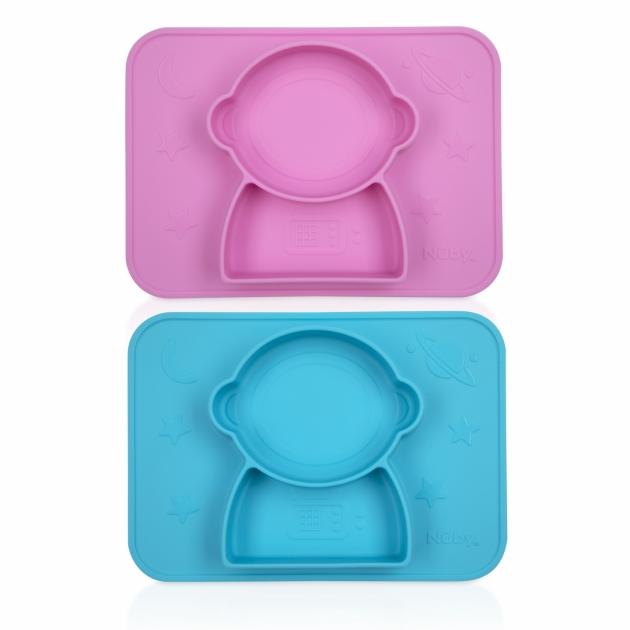 矽膠分隔餐盤/太空人(粉/藍) 1